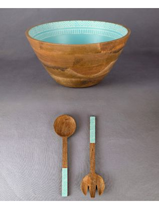 Blue Salad Bowl with Long Hands