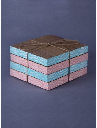 Pastel Zig-Zag Coasters (Set of 4)
