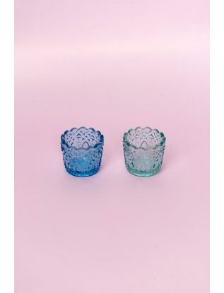 Aqua Glass Votive (Set of 2)