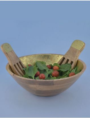 Gold Salad bowl with Hand Tossers