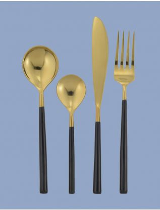 Black Enamel Cutlery (Set of 4)