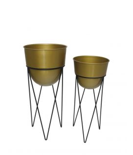 Tall Hair Pin metal Planters - set of 2