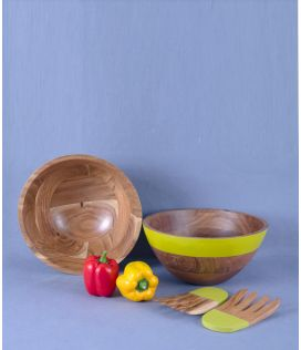 Green Stripe Bowl with Hand tossers