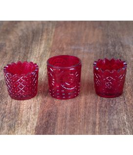 Ruby Glass Votives With Tray