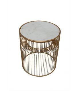 Marble Side Table Gold Finish