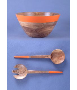 Orange Stripe Jumbo Bowl with Hand Servers