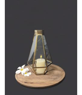 Golden Tower Lantern With Candle- Small