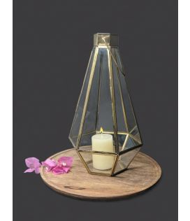Golden Tower Lantern With Candle- Large